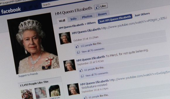 The Facebook page of Britain's Queen Elizabeth is shown on a computer screen in London