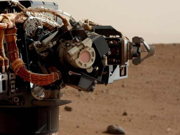 The left eye of the Mast Camera on NASA's Mars rover Curiosity took this image of the camera on the rover's arm