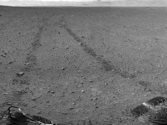 This scene shows the surroundings of the location where NASA Mars rover Curiosity arrived on Sept 4