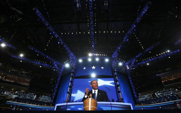 US President Barack Obama addresses delegates at the Democratic National Convention
