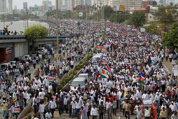 MNS supporters participate in a rally by Raj Thackeray in Mumbai on August 21
