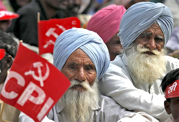 Supporters of the CPI during a rally in New Delhi