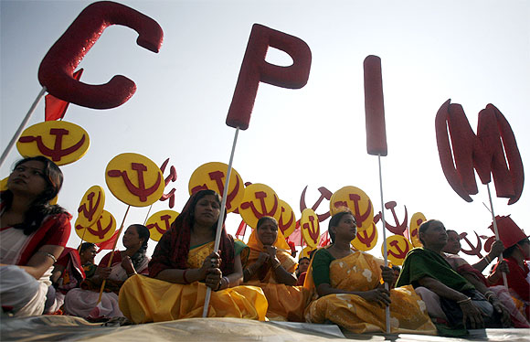 Supporters of the CPI-M attend a public rally in Agartala