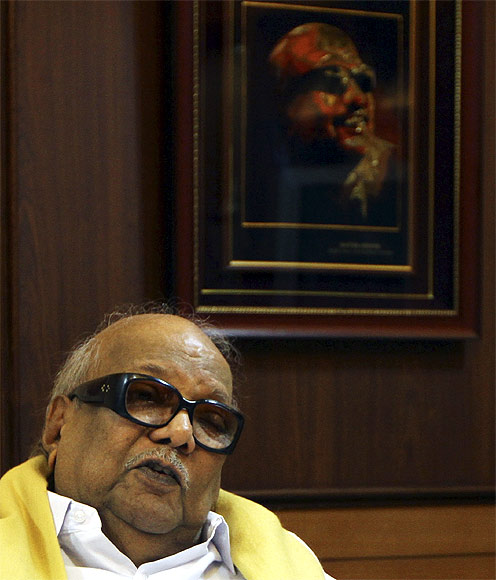 DMK chief Karunanidhi speaks during a meeting at party headquarters in Chennai