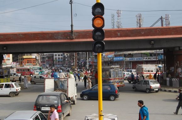 The site of the incident at the three-way crossing on the Maulana Azad road in Srinagar