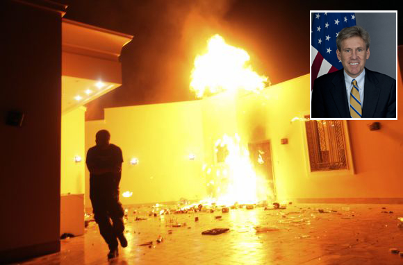 The US consulate in Benghazi is seen in flames during a protest on Tuesday (Inset) Slain US envoy to Libya Christopher Stevens