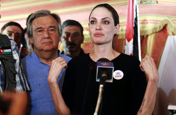 The UN refugee agency's special envoy, actress Angelina Jolie, speaks to the media during a news conference as U.N. High Commissioner for Refugees (UNHCR).