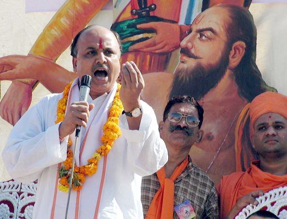 Pravin Togadia of the hardline Hindu group Vishwa Hindu Parishad (VHP) speaks during a gathering in Ahmedabad
