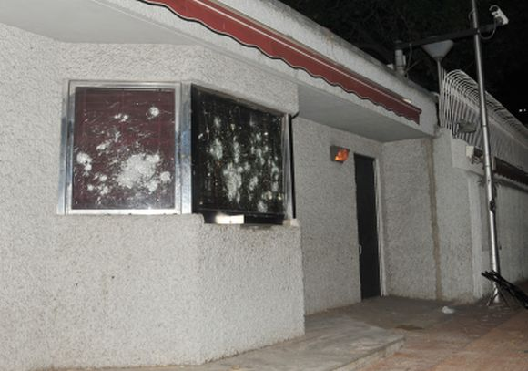 The damage at the US consulate in Chennai