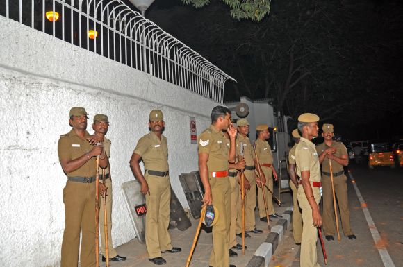 Policemen keep vigil outside the US consulate in Chennai