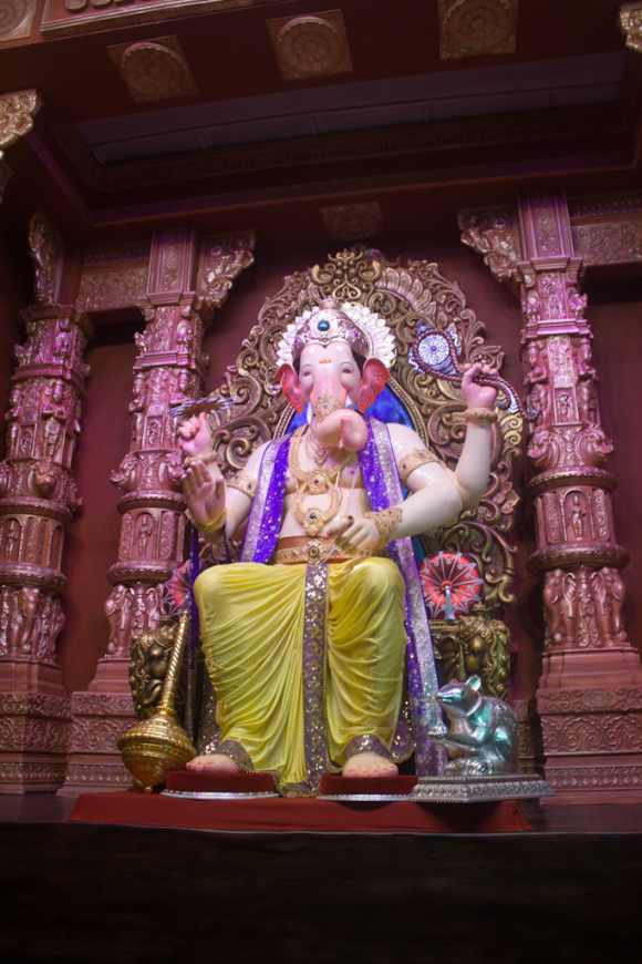 The idol of the Lalbaugcha Raja in Mumbai