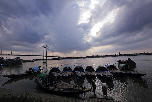 Rain clouds approach over River Ganges in Kolkata