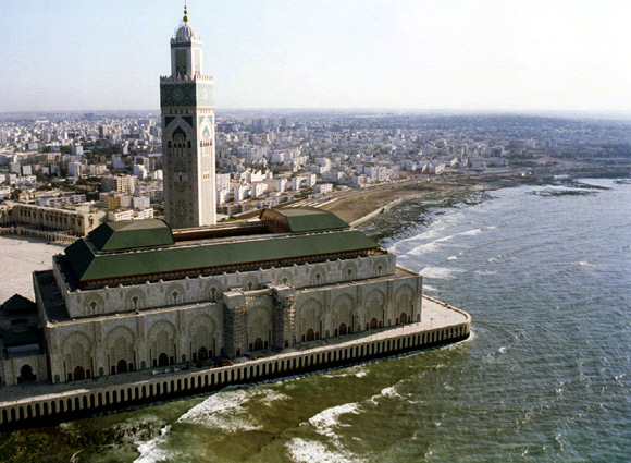 An aerial view of the King Hassan II mosque of Casablanca