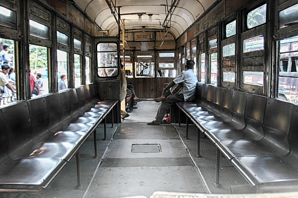 An empty tram in Kolkata