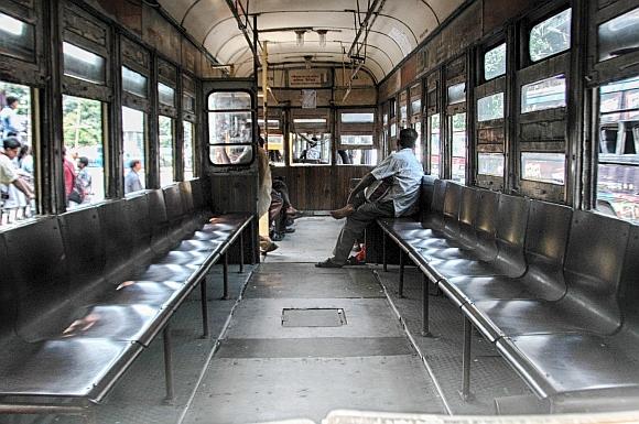 An empty tram in Kolkata