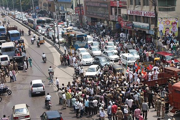 Vehicles plying normally amid protests on Hyderabad roads