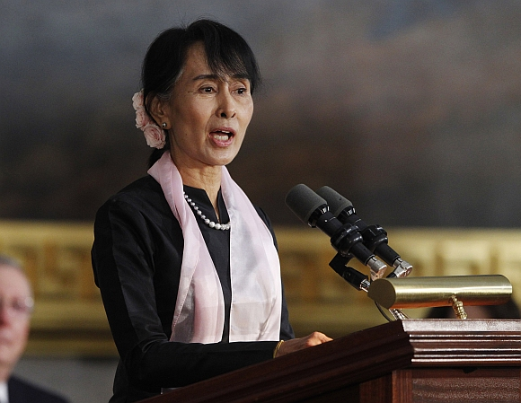 San Suu Kyi delivers remarks after being presented with the Congressional Gold Medal
