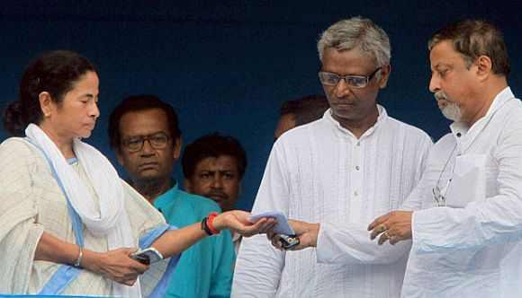 Trinamool Congress chief Mamata Banerjee with Mukul Roy