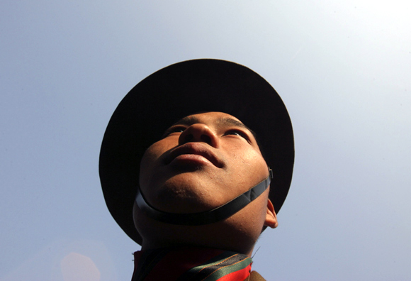 A soldier takes part in the Vijay Diwas celebrations in Jammu