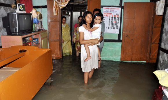 A flooded residence in Guwahati on Sunday