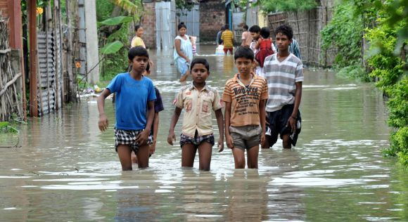 A waterlogged street in Guwahati seen on Sunday