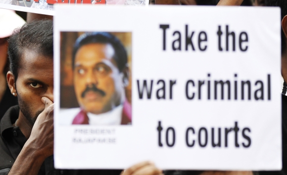 A protest against President Mahinda Rajapakse in Chennai
