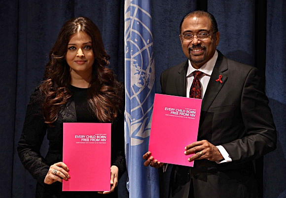 Michel Sidibe, executive director of the Joint UN Programme on AIDS and HIV with Aishwarya at the UN headquarters