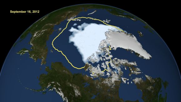 NASA handout image shows how satellite data reveals how the new record low Arctic sea ice extent, from September 16, 2012, compares to the average minimum extent over the past 30 years (in yellow).