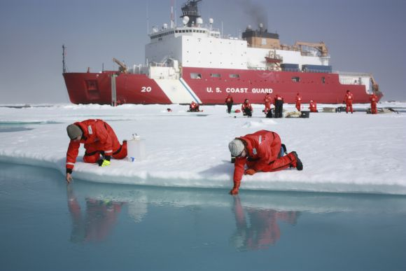 Scientists Jens Ehn (L) and Christie Wood scoop water from melt ponds on sea ice in the Chukchi Sea in the Arctic Ocean