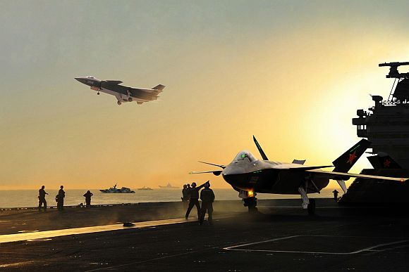 Artist's impression J-20 Mighty Dragon fifth generation fighter jet from the on the flight deck of the aircraft carrier