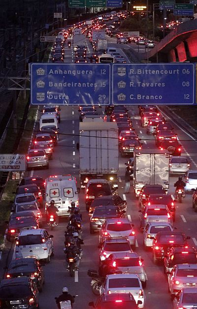 Vehicles are seen in a traffic jam during rush hour at Marginal Pinheiros in Sao Paulo
