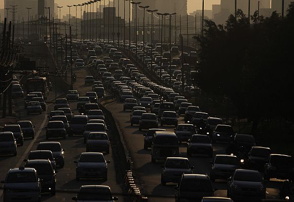 Vehicles are seen in a traffic jam during rush hour in Sao Paulo