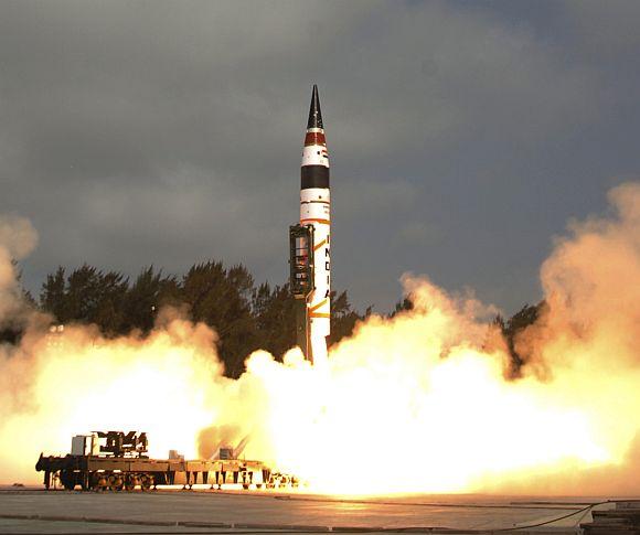 Agni-V missile being tested