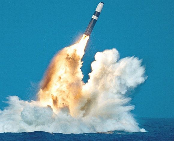 A Trident missile being test-fired