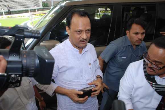 Ajit Pawar with Maharashtra  PWD Minister Chhagan Bhujbal