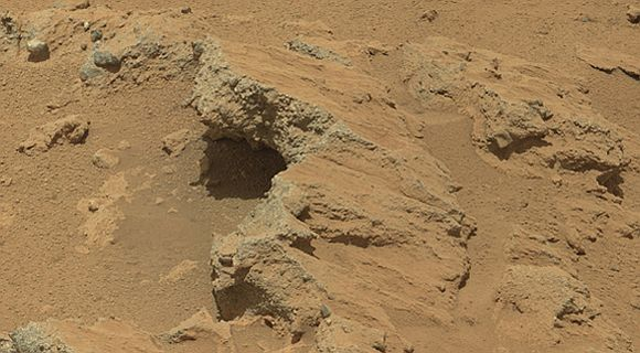 NASA's Curiosity rover found evidence for an ancient, flowing stream on Mars at a few sites, including the rock outcrop pictured here, which the science team has named Hottah after Hottah Lake in Canada's Northwest Territories