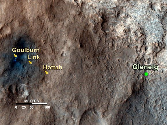 This map shows the path on Mars of NASA's Curiosity rover toward Glenelg, an area where three terrains of scientific interest converge