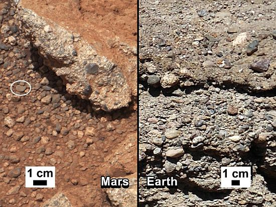 This set of images compares the Link outcrop of rocks on Mars (left) with similar rocks seen on Earth (right)