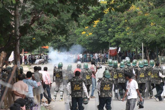 Students of Osmania University clashed with security personnel earlier on Sunday