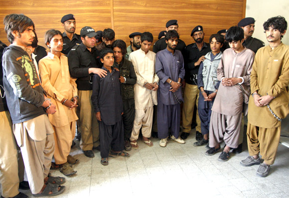 A militant gang, arrested by the police, in Quetta