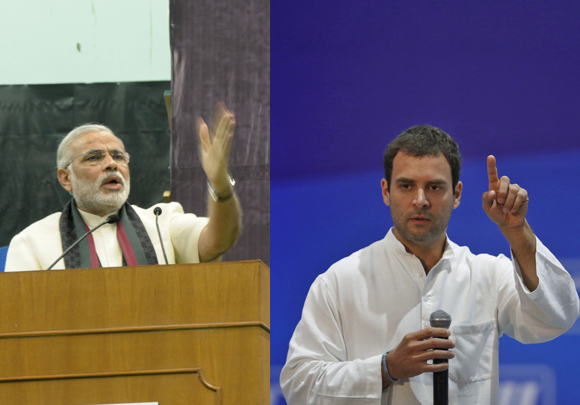 Gujarat CM Narendra Modi delivers a speech at Delhi University's Sri Ram College and Rahul Gandhi at the CII conference
