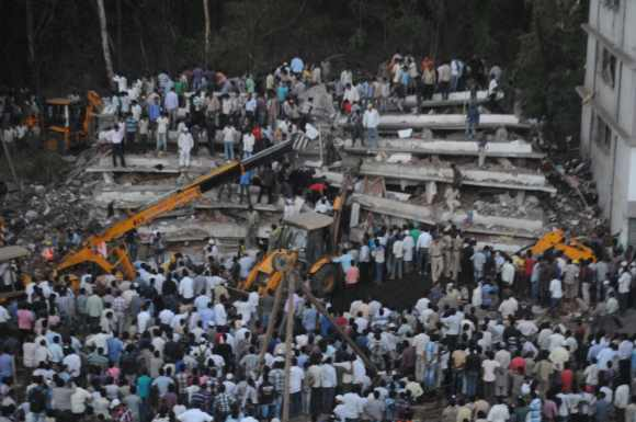 The under-construction building collapsed in Thane on Thursday evening