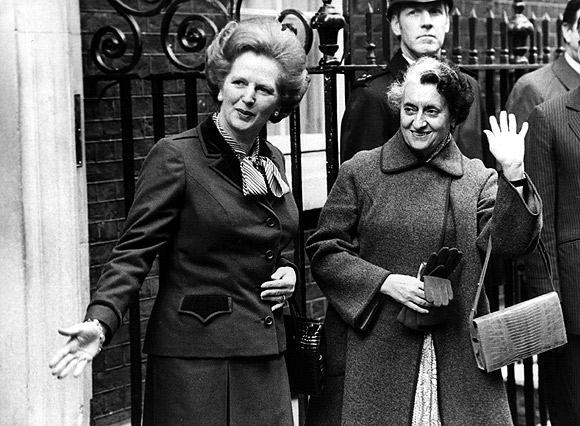 British Conservative Prime Minister Margaret Thatcher with then Indian premier Indira Gandhi (1917 - 1984), outside 10 Downing Street in this March 1982 picture