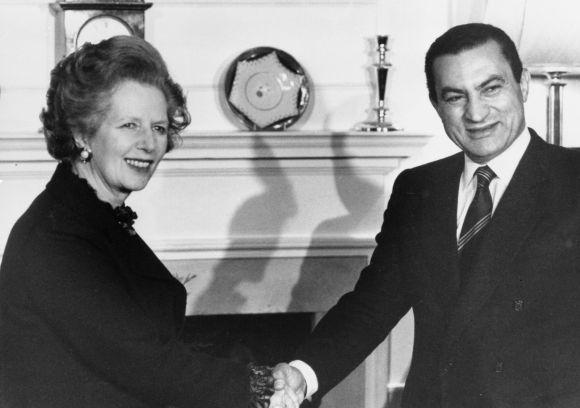 Britain's Prime Minister Margaret Thatcher greets Egypt's President Hosni Mubarak inside 10 Downing Street, London