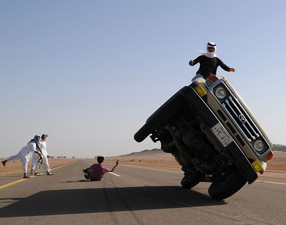The bizarre car stunts by young Saudis