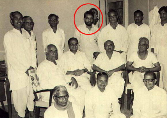 Modi with the Rashtriya Swayamsevak Sangh team in the 1980s