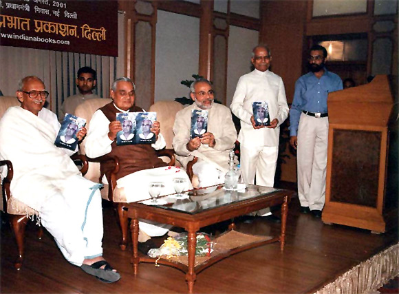 Modi with Atal Bihari Vajpayee in 2001