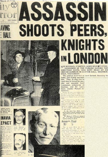 Headline in the Daily Mirror on Udham Singh's killing of Sir Michael Dwyer
