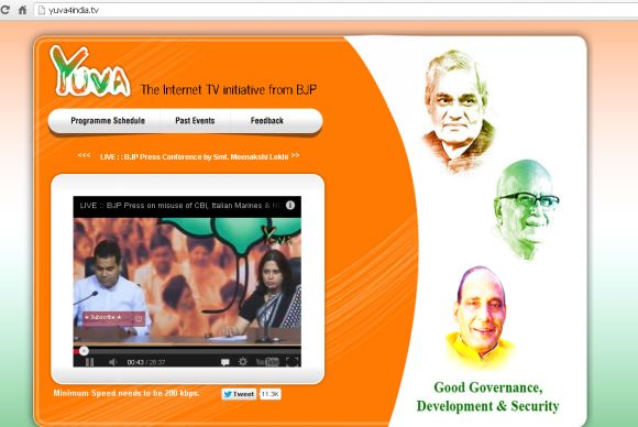 yuva4india, the Bharatiya Janata Party's Internet TV