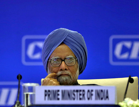 Prime Minister Manmohan Singh attends the annual general meeting and national conference of the Confederation of Indian Industry in New Delhi